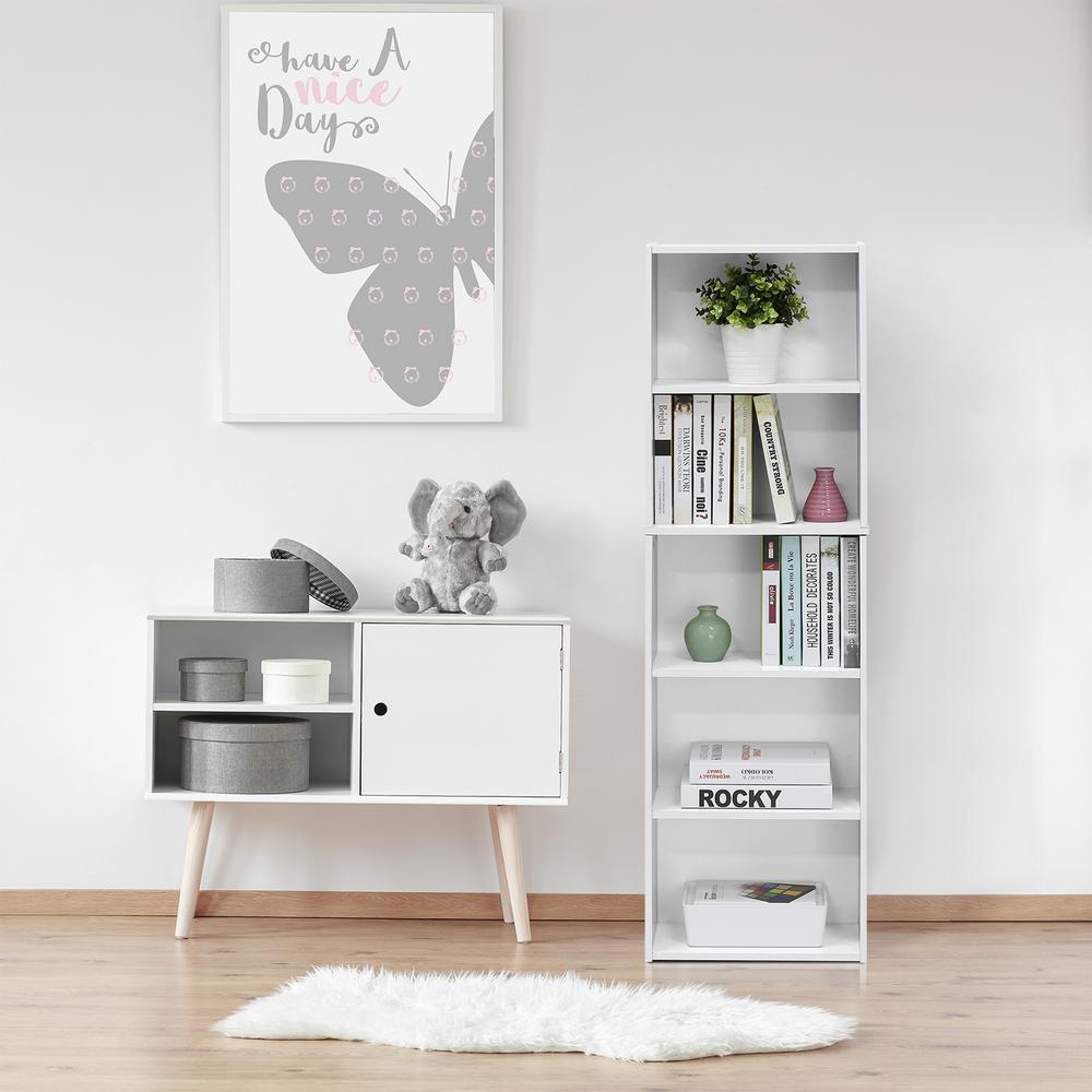 Furinno White 5 Tier Open Shelf Bookcase 11055wh The