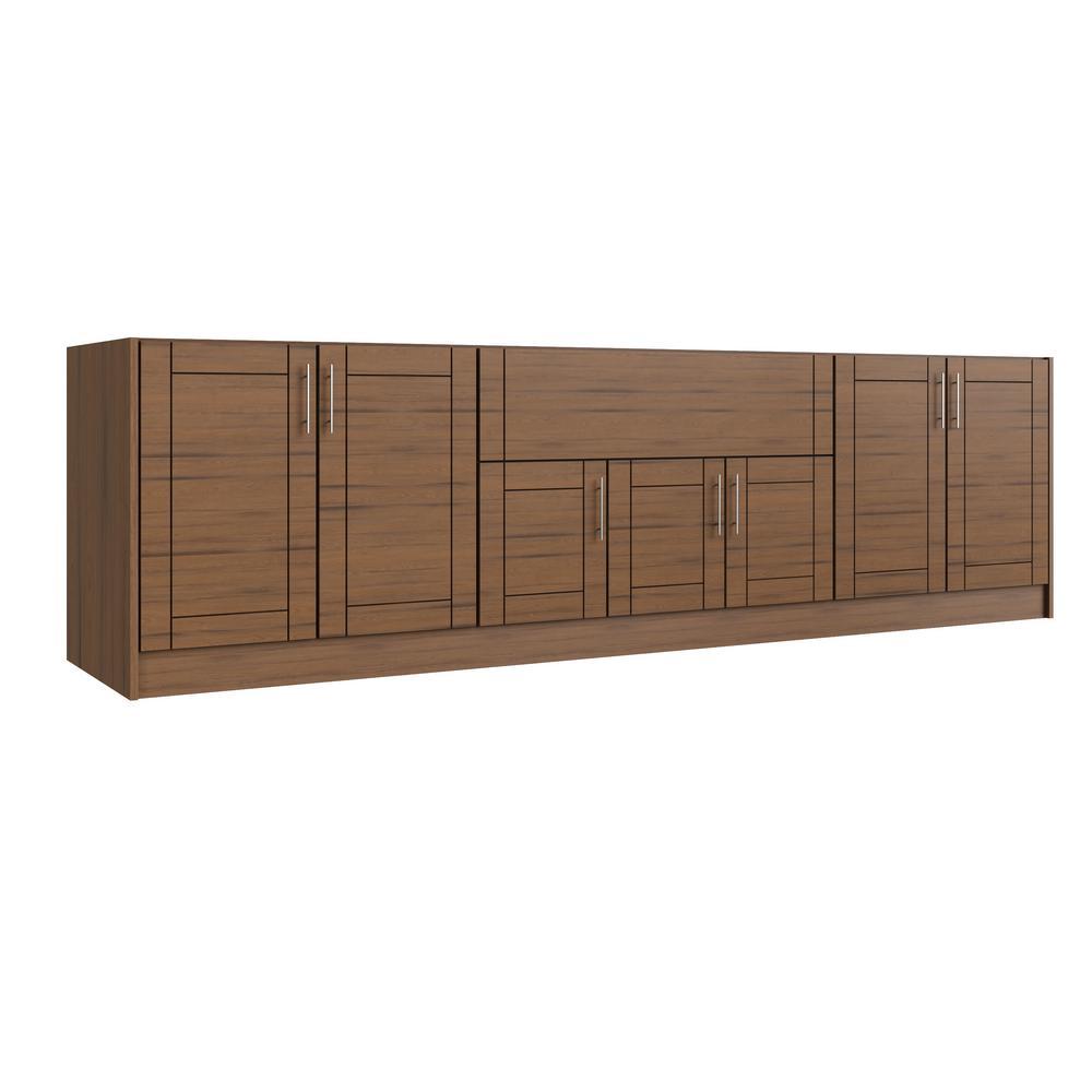 Tampa Teak 20-Piece 120 in. x 34.5 in. x 27 in. Outdoor Kitchen Cabinet Island Set