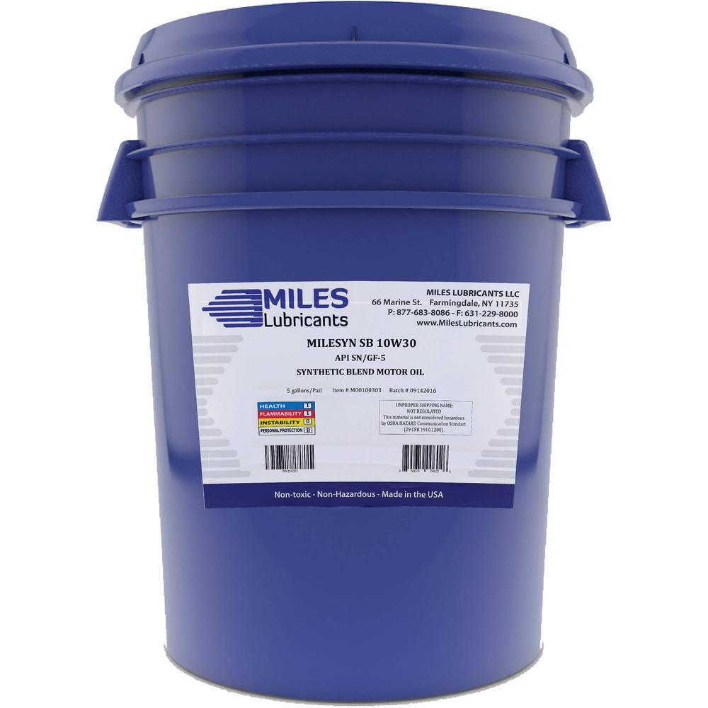 Milesyn SB 10W30 API GF-5/SN 5 Gal. Synthetic Blend Motor Oil Pail