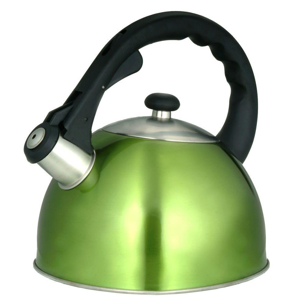Creative Home Satin Splendor 11.2-Cup Stovetop Tea Kettle in Chartreuse 77006