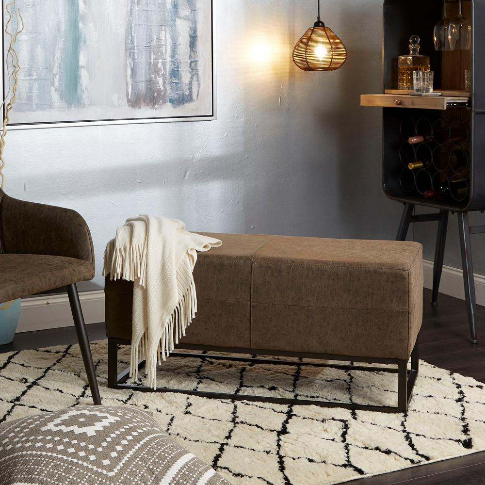 Silverwood jae distressed brown upholstered metal bench cpfh1083tbkbpu the home depot