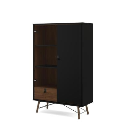 Ry Black Matte/Walnut 1-Drawer China Cabinet with 1-Door and 1-Glass Door