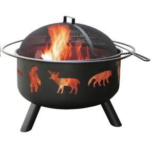 LANDMANN 24 inch Big Sky Wildlife Fire Pit in Black with Cooking Grate by LANDMANN