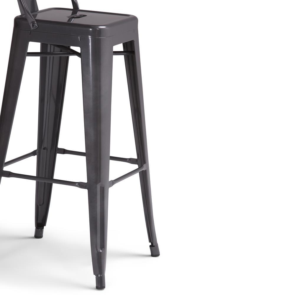 Simpli Home Rayne 30 In Grey Industrial Metal Bar Stool Set Of 2 Axcray30 01 Sl The Home Depot