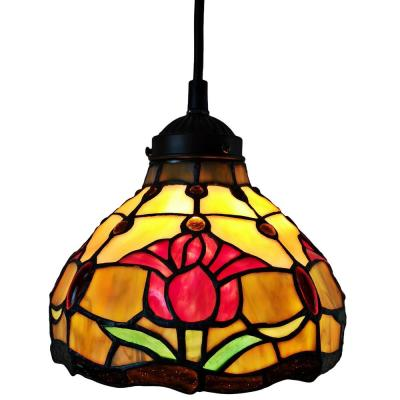 1-Light Tiffany Style Tulips Hanging Pendant with Glass Shade