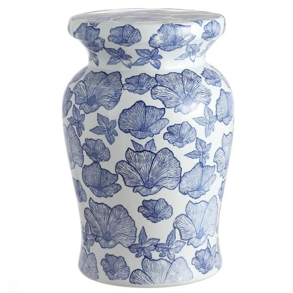 Poppies 17.7 in. White/Blue Ceramic Garden Stool