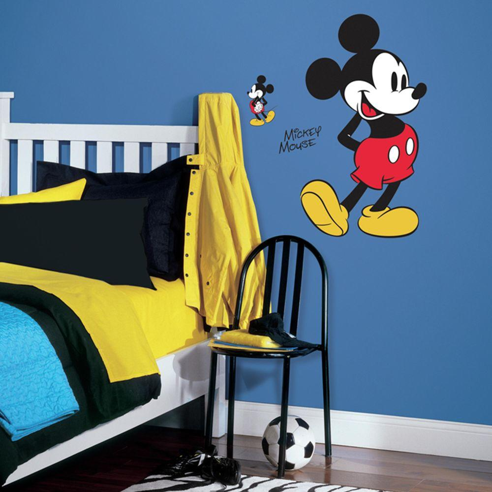 RoomMates 5 in. x 19 in. Mickey Mouse 10-Piece Peel and Stick Giant ...