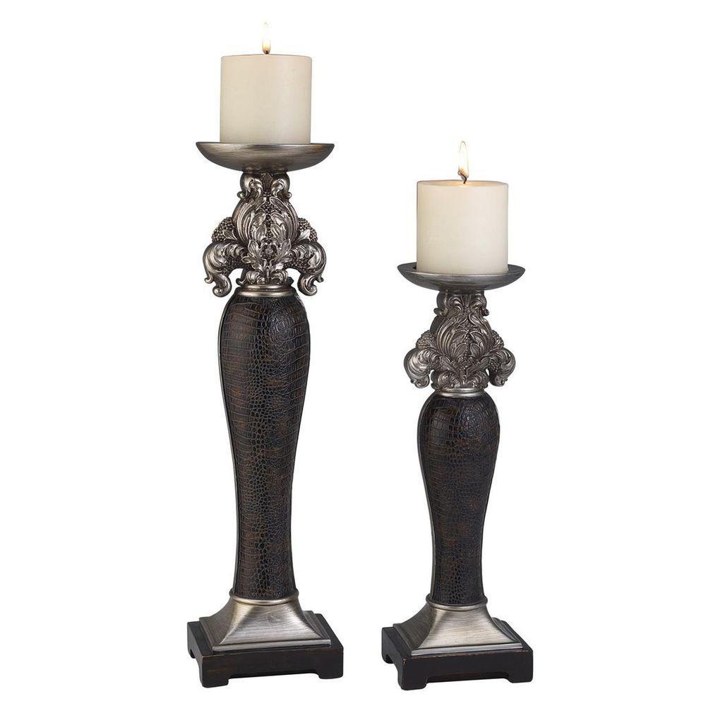 14 in. and 18 in. H Sobek Dark Candleholder Set