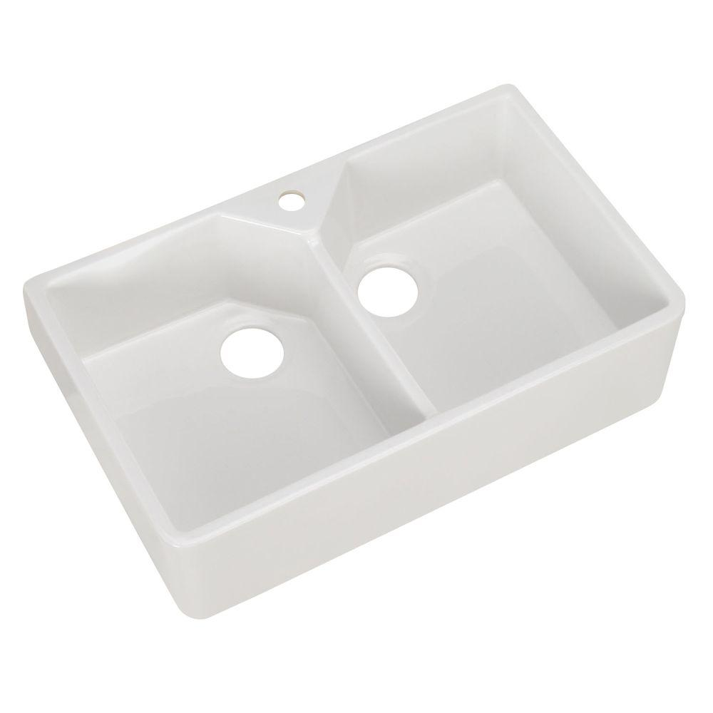 Bon Pegasus Farmhouse Apron Front Fireclay 32 In. 1 Hole Double Bowl Kitchen  Sink In