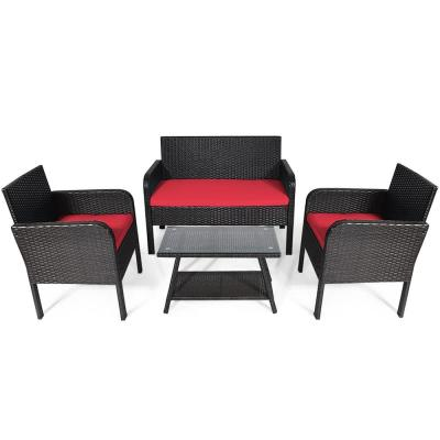4-Piece Rattan Outdoor Furniture Set Patio Conversation Set with Red Cushion