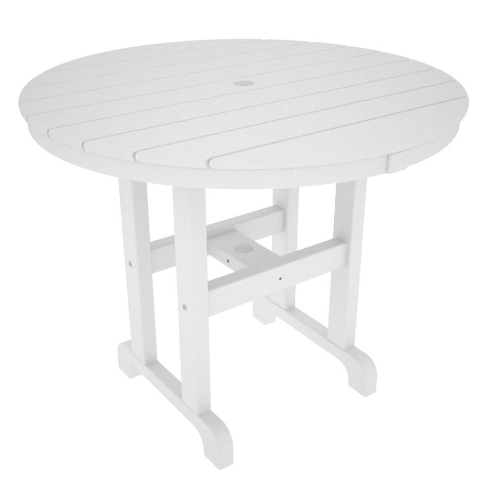 Marvelous POLYWOOD La Casa Cafe 36 In. White Round Plastic Outdoor Patio Dining Table