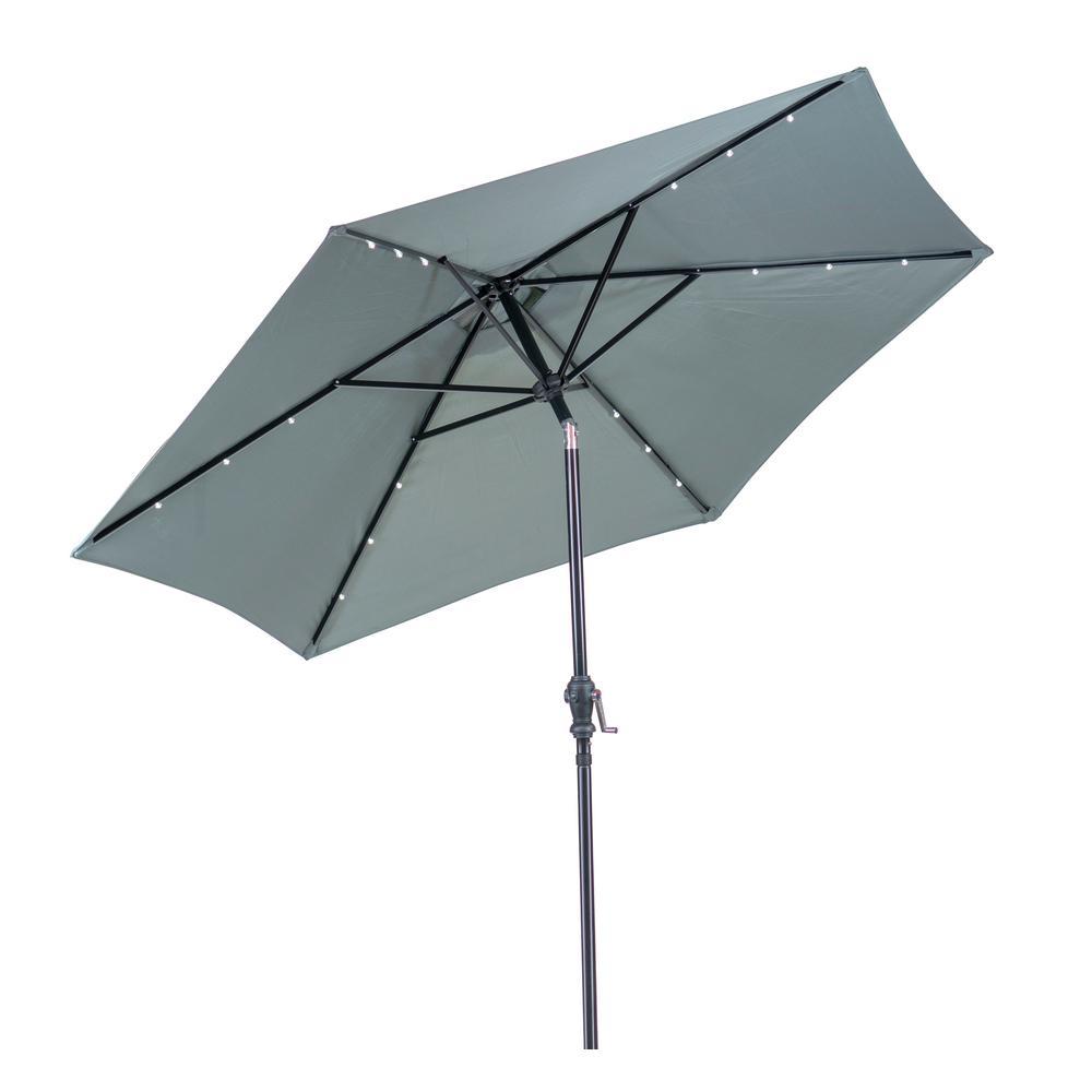 9 ft. Round Solar Lighted Market Patio Umbrella in Grey