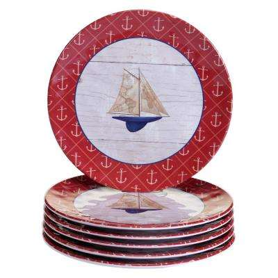 Nautique 6-Piece Blue Salad Plate Set
