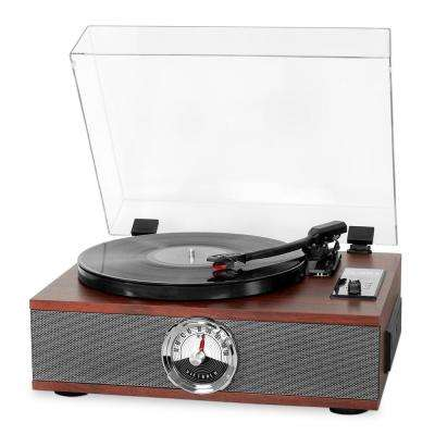 5-in-1 Wood Bluetooth Record Player with 3-Speed Turntable, CD and Radio