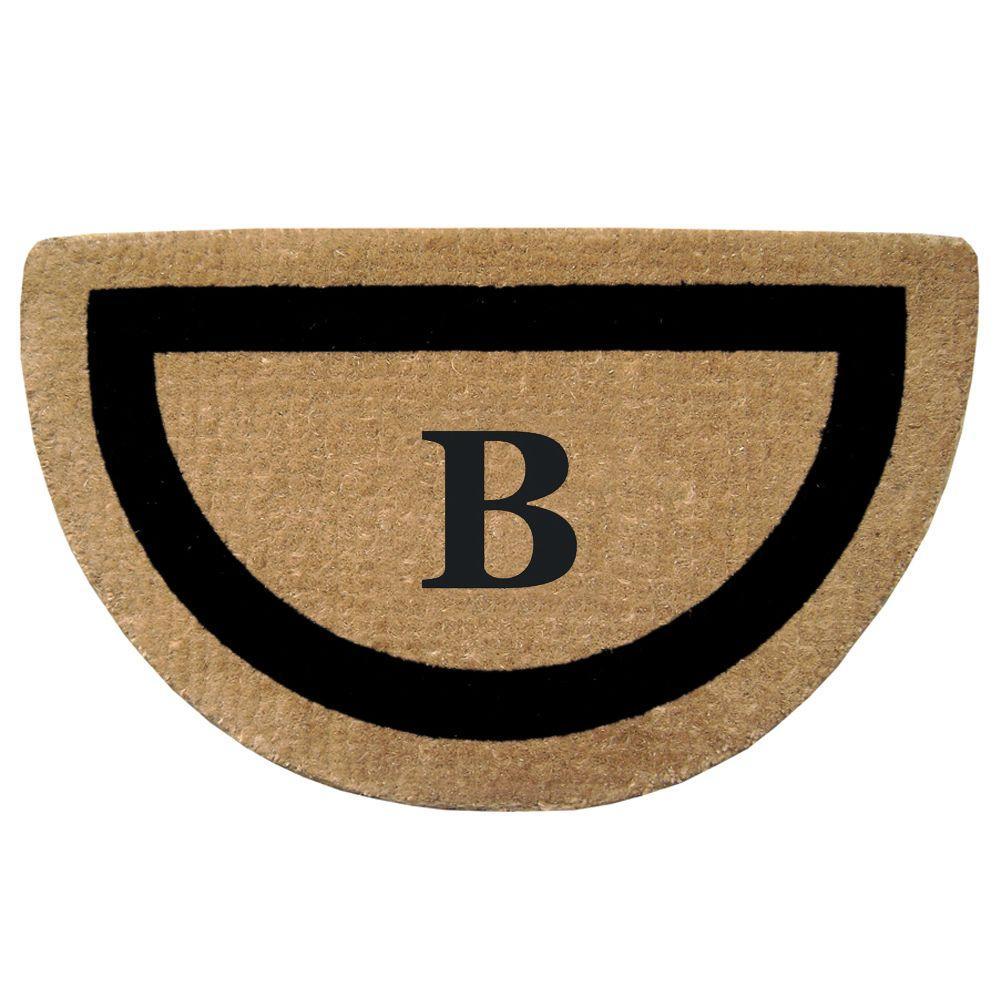 Single Picture Frame Black 22 in. x 36 in. HeavyDuty Coir Half Round Monogrammed B Door Mat