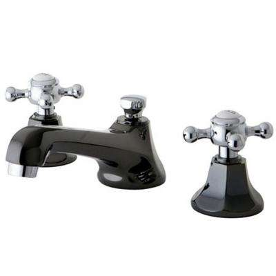 Kate 8 in. Widespread 2-Handle Cross-Handles Bathroom Faucet in Black and Chrome