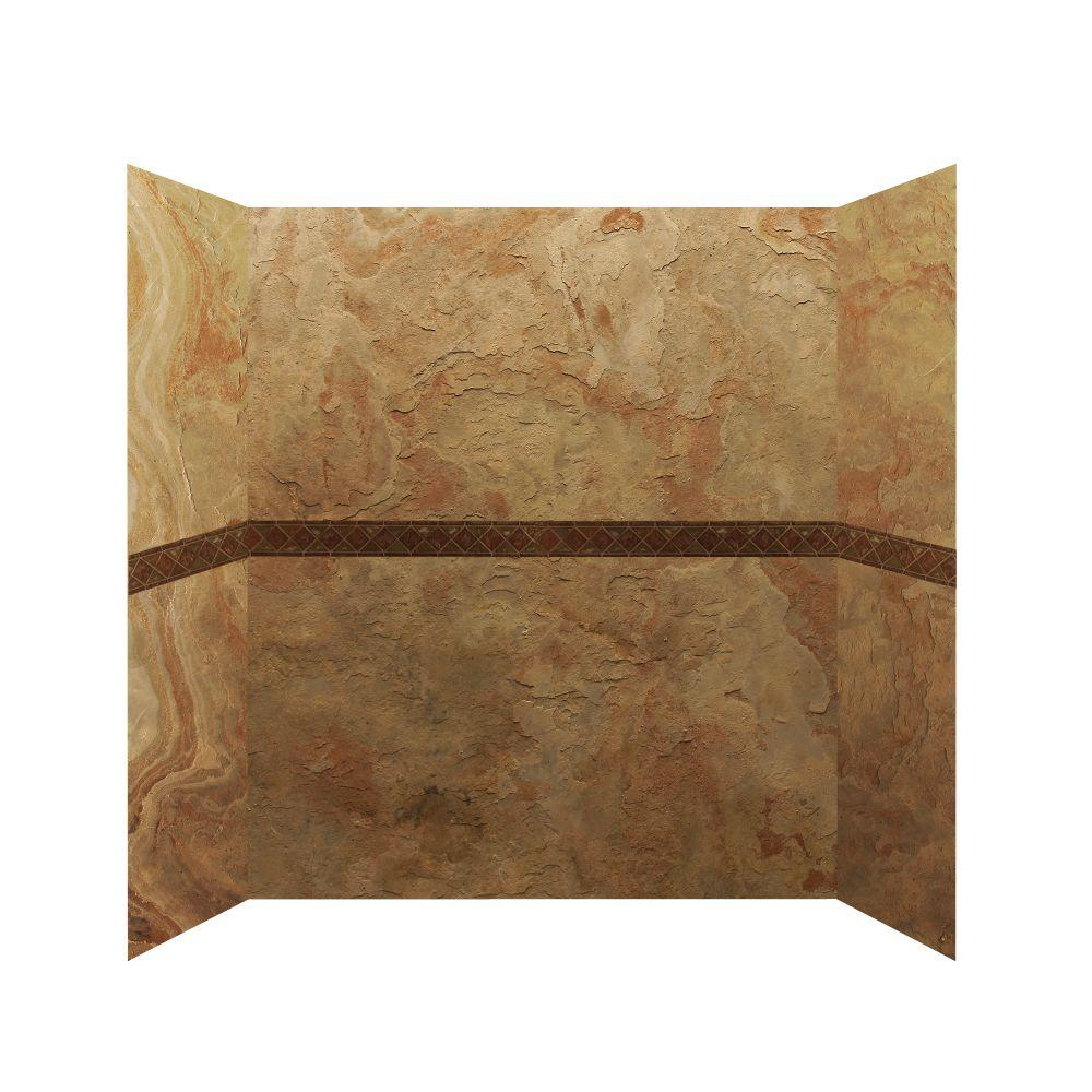 null 30 in. x 60 in. x 76 in. 4 Panel Shower Surround with Design Strips in Golden Sand Enhanced-DISCONTINUED