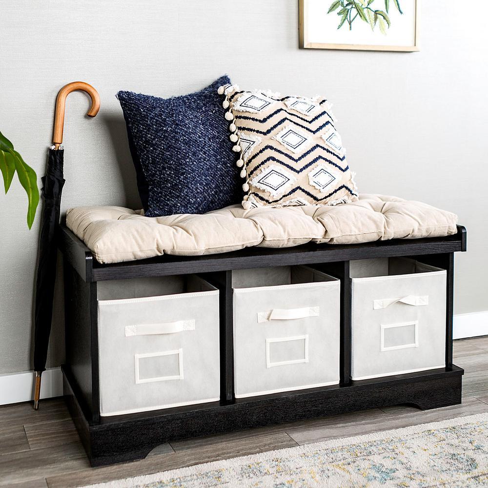 Perfect Walker Edison Furniture Company Black Storage Bench HD42STCBL   The Home  Depot