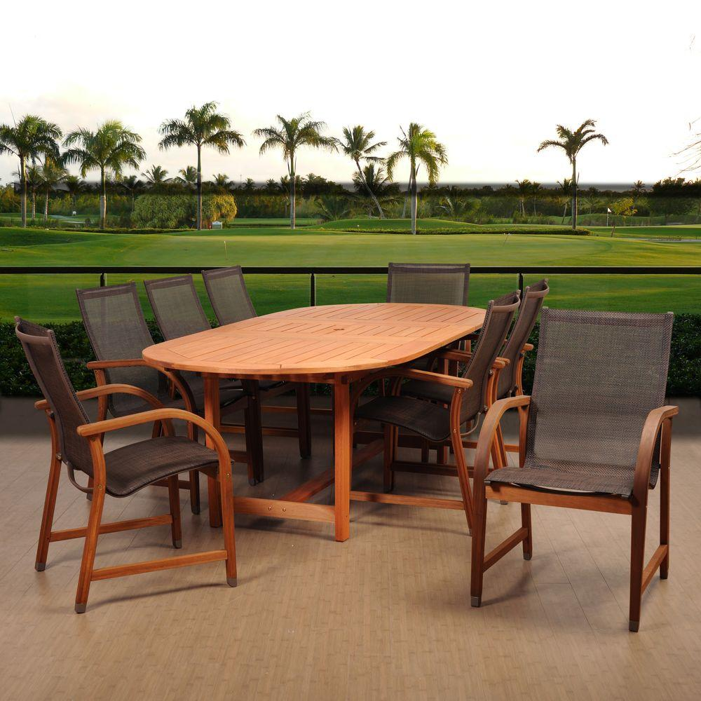 Bahamas 9-Piece Eucalyptus Extendable Rectangular Patio Dining Set with Brown