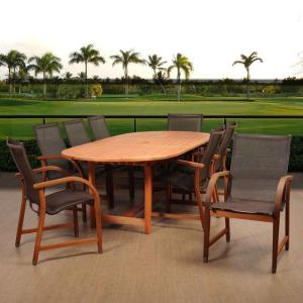Amazonia Bahamas 9-Piece Eucalyptus Extendable Rectangular Patio Dining Set with Brown Sling Seat by Amazonia