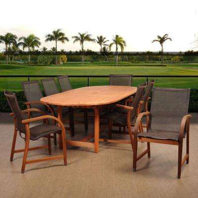 Bahamas 9-Piece Eucalyptus Extendable Rectangular Patio Dining Set with Brown Sling Seat
