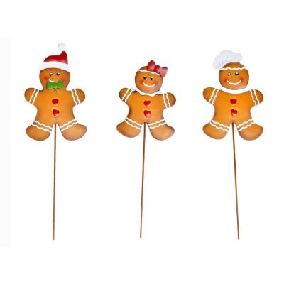14 in. Metal Christmas Gingerbread Man on Stake (Set of 3)