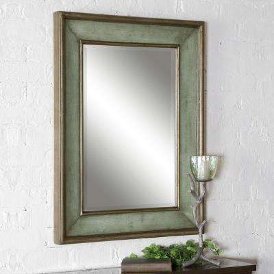 Blue rectangle mirrors wall decor the home depot rubbed blue wood rectangular framed mirror thecheapjerseys Image collections