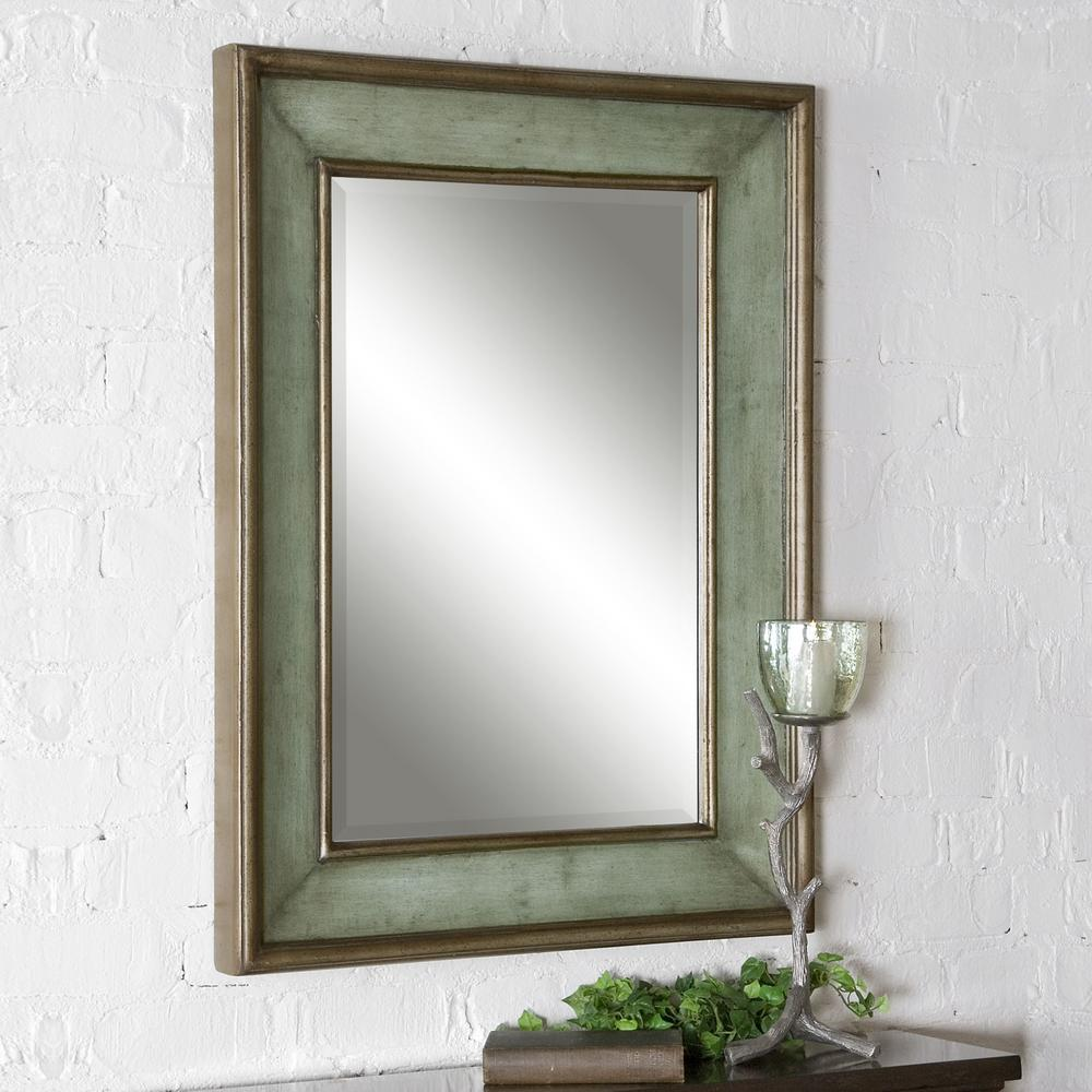 Rubbed Blue Wood Rectangular Framed Mirror