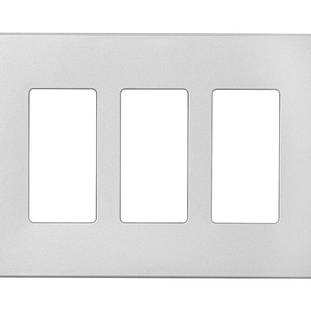 eaton designer 3gang screwless wallplate silver granite