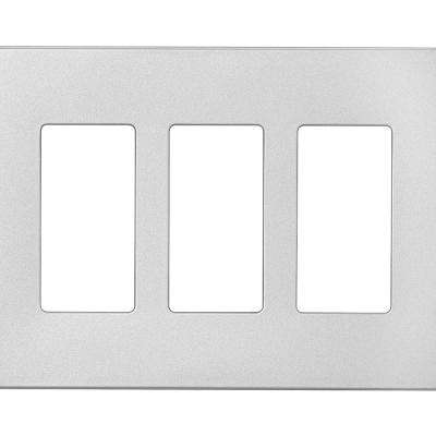 Designer 3-Gang Screwless Wallplate, Silver Granite