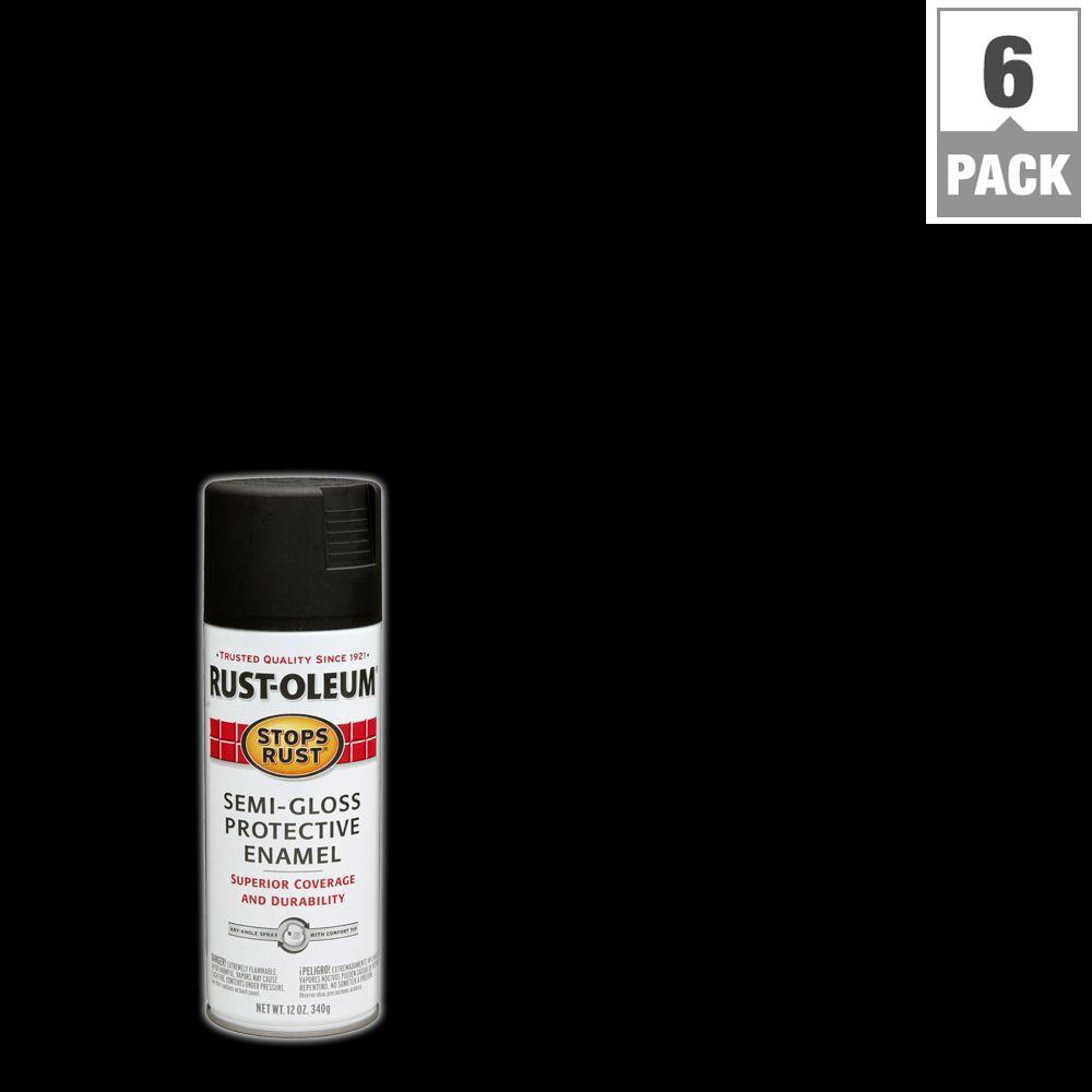12 oz. Protective Enamel Semi-Gloss Black Spray Paint (6-Pack)