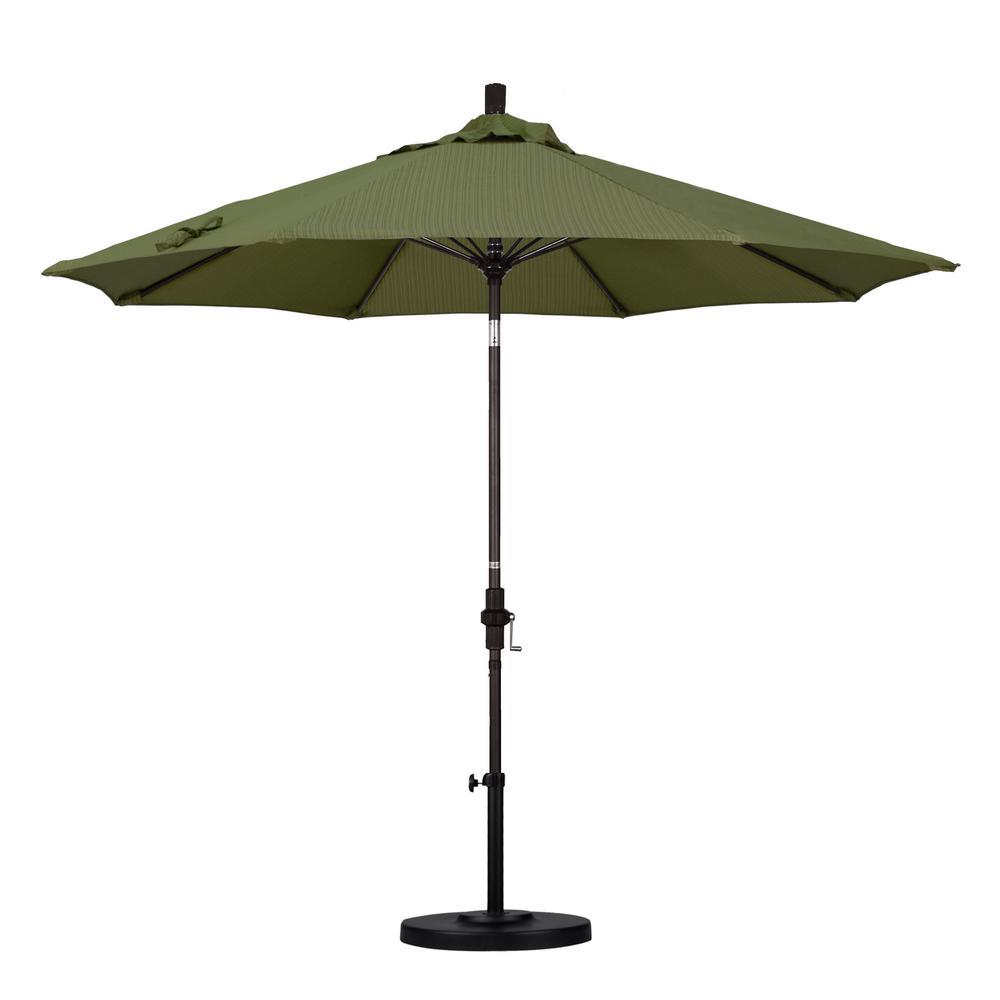 9 ft. Fiberglass Collar Tilt Patio Umbrella in Terrace Fern Olefin