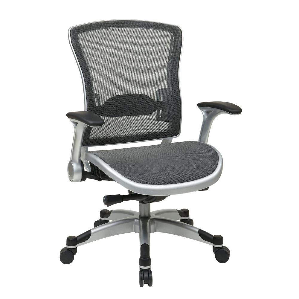 Space Seating Executive Breathable Mesh Back Chair with Flip Arms in Black