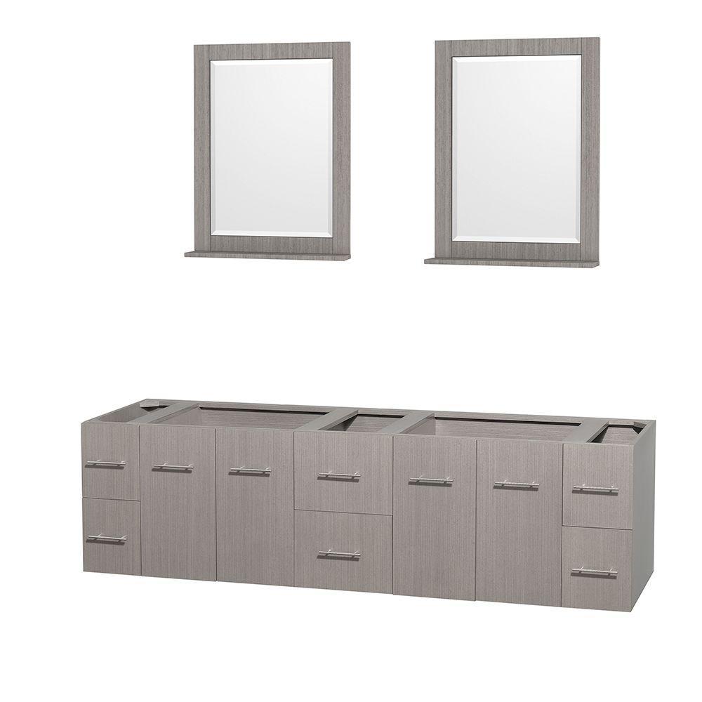 Wyndham Collection Centra 79 in. Double Vanity Cabinet with 24 in. Mirrors in Gray Oak