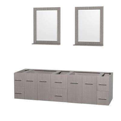 Centra 79 in. Double Vanity Cabinet with 24 in. Mirrors in Gray Oak