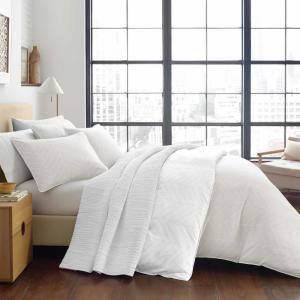 Demi 3-Piece Beige Geometric Plush Microfiber King Duvet Cover Set