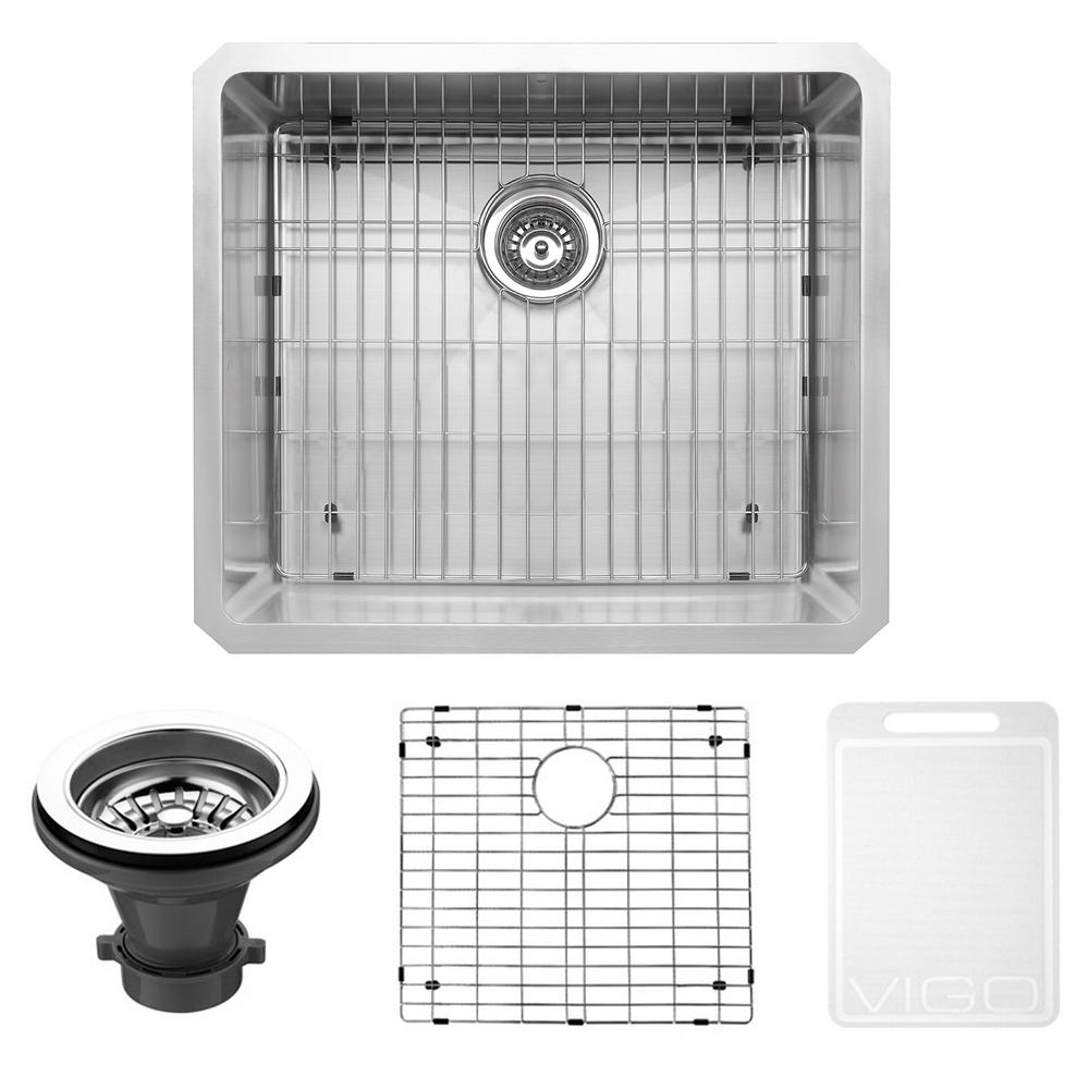 VIGO Undermount Stainless Steel 23 In. Single Bowl Kitchen Sink With Grid  And Strainer VGR2320CK1   The Home Depot