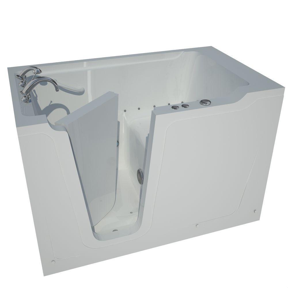 5 ft. Left Drain Walk-In Whirlpool Air Bathtub in White