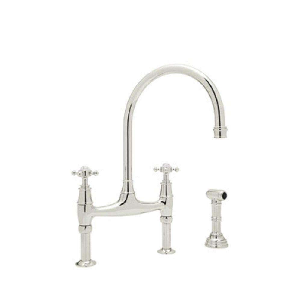 Rohl Perrin and Rowe 2-Handle Bridge Kitchen Faucet in Polished Nickel