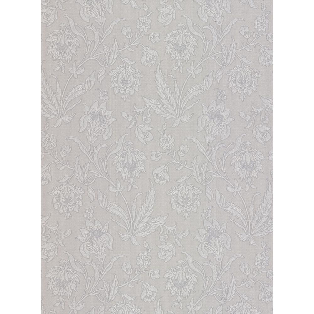 56.4 sq. ft. Torcello Silver Floral Wallpaper