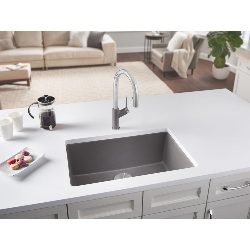 Blanco Precis Undermount Granite Composite 27 In Single Bowl Kitchen Sink Metallic Gray
