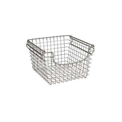 Scoop 12.75 in. W x 12.75 in. D x 8.375 in. H Medium Stacking Basket in Satin Nickel Powder Coat