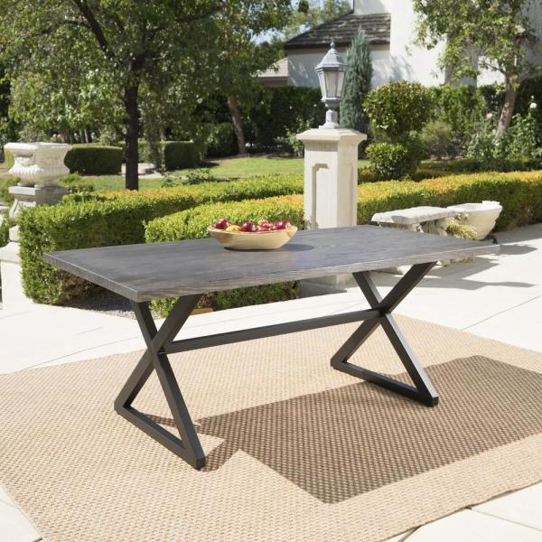Rolando Grey Metal Outdoor Dining Table