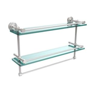 W 2 Tier Gallery Clear Gl Bathroom Shelf With Towel Bar In Polished Chrome Wp 2tb 22 Gal Pc The Home Depot