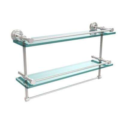 22 in. L  x 12 in. H  x 5 in. W 2-Tier Gallery Clear Glass Bathroom Shelf with Towel Bar in Polished Chrome