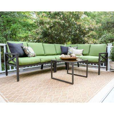 Blakely 5-Piece Aluminum Patio Sectional Set with Green Cushions