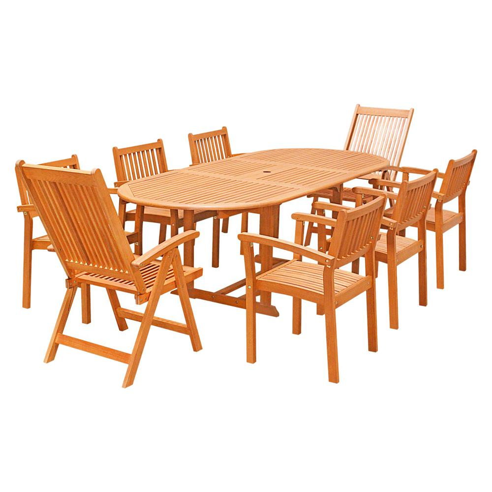 Eco-Friendly 9-Piece Wood Outdoor Dining Set with Oval Extension Table