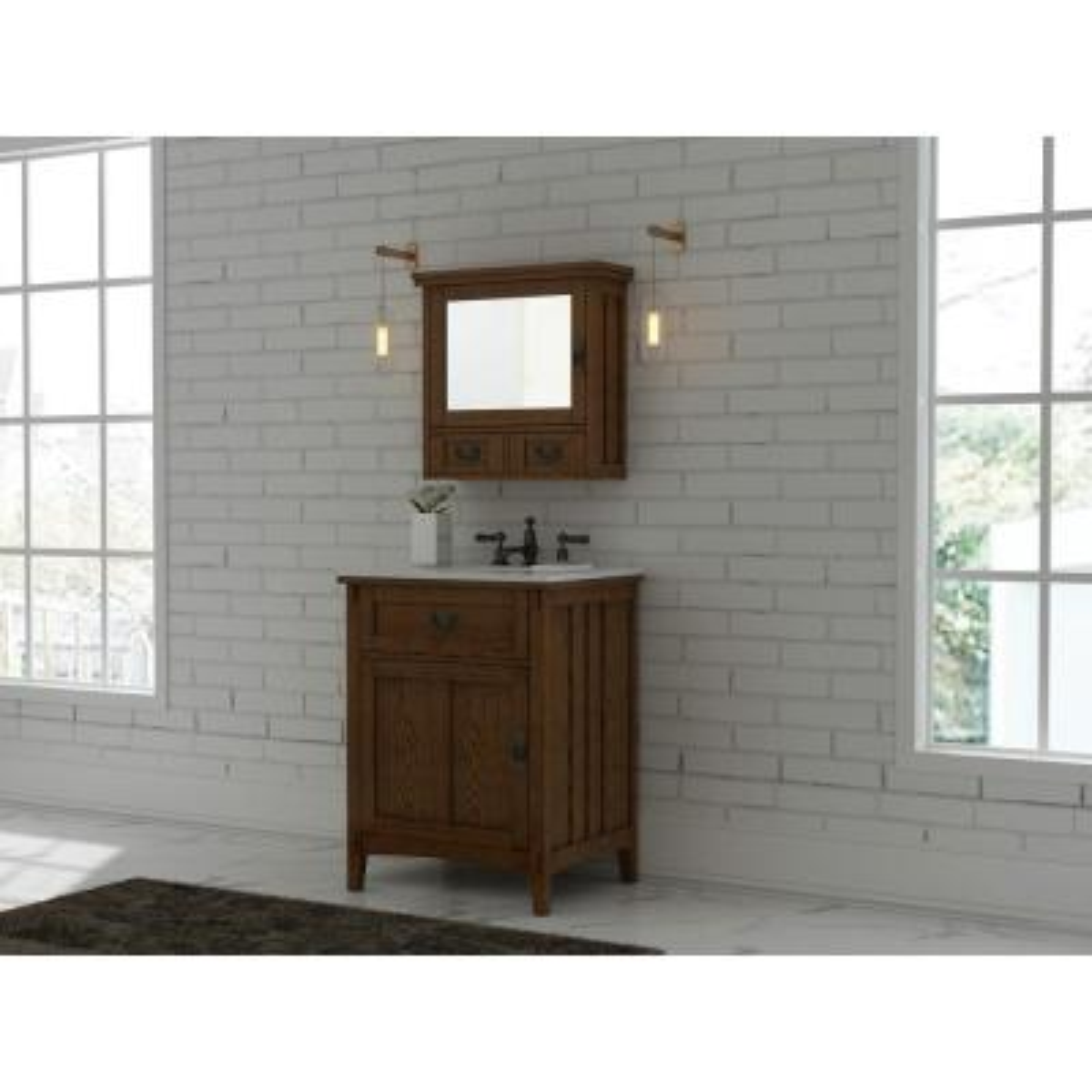 Artisan 26 in. W Vanity in Dark Oak with Marble Vanity Top in Natural White with White Sink