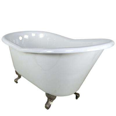 Elegant 5 Ft. Cast Iron Satin Nickel Claw Foot Slipper Tub In White