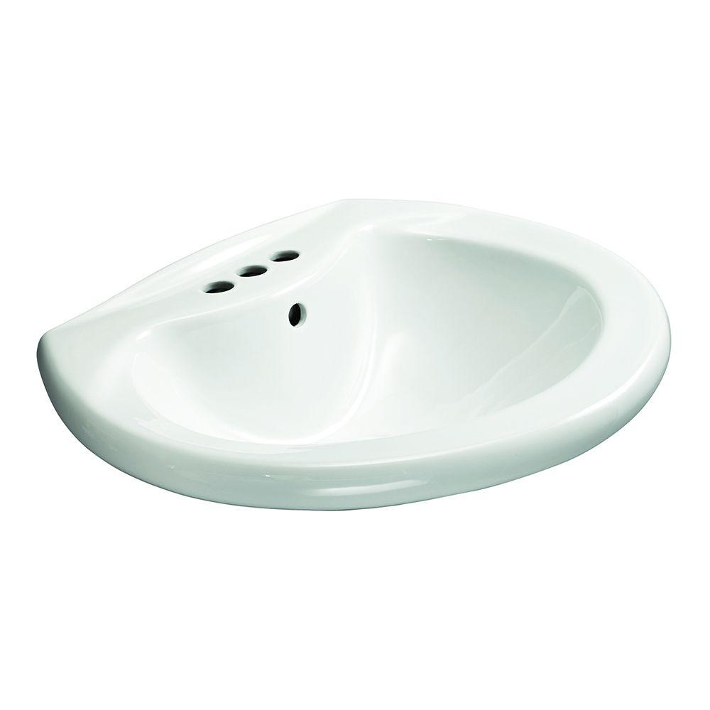 Glacier Bay Shelburne 20 in. Pedestal Sink Basin in White